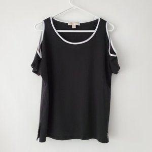 MICHAEL KORS Black & White Cold-shoulder Blouse XL